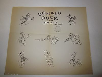 1940's Donald Duck Disney Animation Production Model Sheet - Mickey Beanstalk
