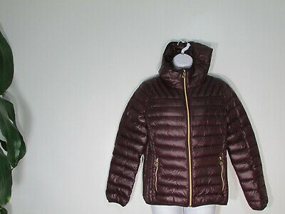 Reticket New Michael Kors Packable Quilted Down Hooded Coat Plum Medium
