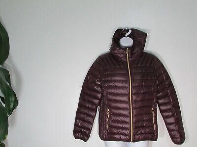 Reticket New Michael Kors Packable Quilted Down Hooded Coat Plum Medium