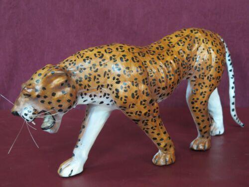 "Leather Wrapped 20"" Cheetah Leopard Jungle Cat Safari Animal Decorating"