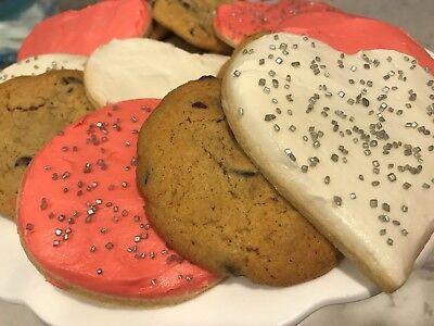 1.5 Dozen Heart Sugar Cookie and Chocolate Chip Cookie Assortment Heart Sugar Cookies