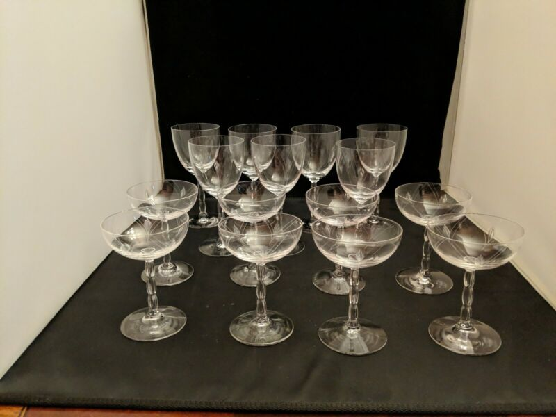 Fostoria Heraldry Water Goblets or Champagne Cocktail Coupes/sherbets art deco