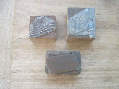 Three Antique Metal Wood Printing Blocks 2 Are Usa Flag 1 Nationals- Loyals