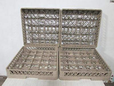 Lot Of 4 Rack Master H.d. Commercial 25 Teacoffeesoup Cups Dishwasher Racks