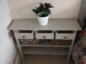 H90 W80 D20cm BESPOKE Laura Ashley French Grey CONSOLE TABLE 3 DRAWERS 2 SHELVES