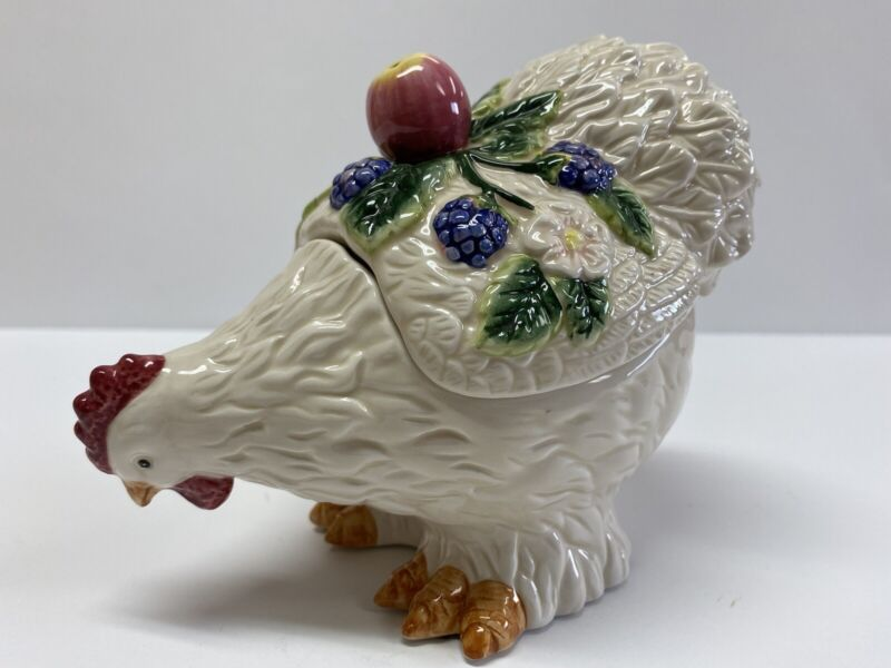 Fitz And Floyd French Orchard Chicken/Hen Lidded Jar