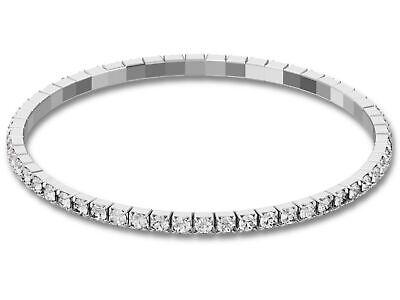 Messing Swarovski Strass Crystal (Swarovski® Armband Stretch Tennis CRYSTAL Kristall Stein Strass Elements silber)