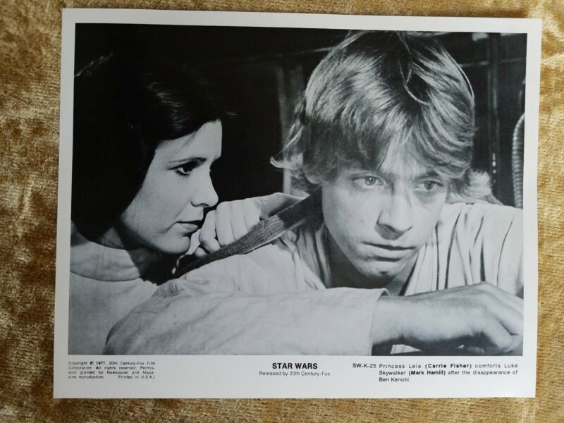 """Star Wars Black And White 8""""x10"""" Movie Still/Promo Pic Carrie Fisher Mark Hamill"""