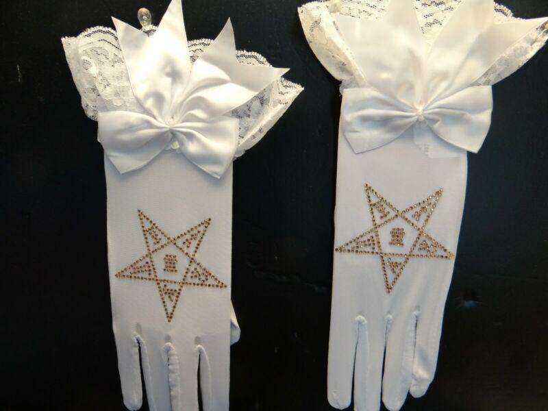 Masonic ( Eastern Star ) Chiffon Gloves with Lace cuff