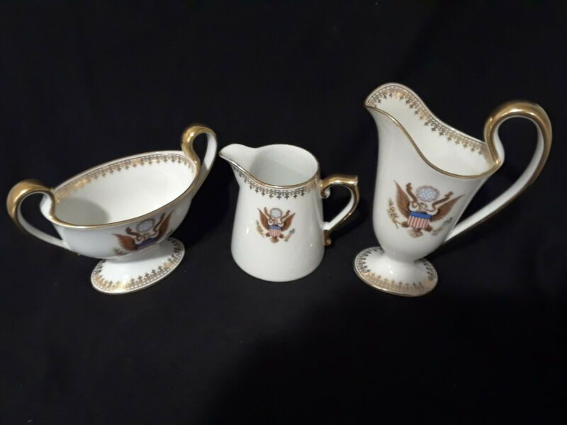 Antique LIMOGES T&V National Remembrance Shop Washington DC sugar creamer set