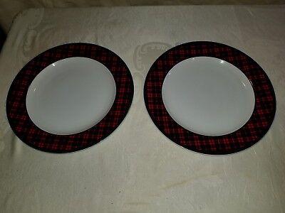 Pair (2) Holiday Plaid Tartan Dinner Plates Target Exclusive Retired (Dinner Plates Target)