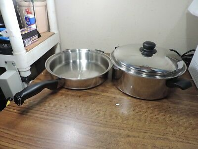 "CUTCO 11-1/2"" SKILLET/Fry Pan, & STOCKPOT & COVER 5 Ply Aluminum Core USA"