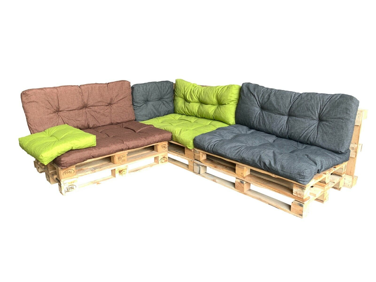 Garden Furniture - Garden Patio Pallet Furniture Cushion Seating & Backrest Set, Reversible Cushion