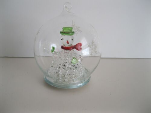 """Glass Ball Christmas Ornament with Color Changing LED Snowman Snowflakes 3.5"""""""