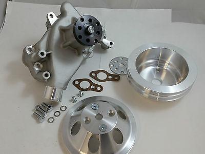 SB Chevy SBC Aluminum Long Water Pump & Aluminum Pulley Kit W/ Bolts & Gaskets