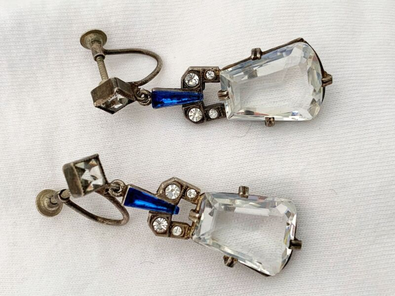Vintage Antique Art Deco Czech Crystal Paste Glass Faceted Open Back Earrings