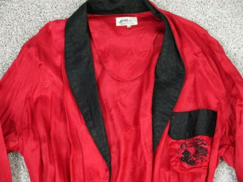VINTAGE 50s 60s MOD SILKY ROBE SMOKING JACKET RED SILVER LAKE ASIAN MCM MENS M