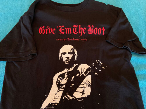 RANCID TIM ARMSTRONG GIVE EM THE BOOT FILM BLACK T-SHIRT HELLCAT RECORDS 2005