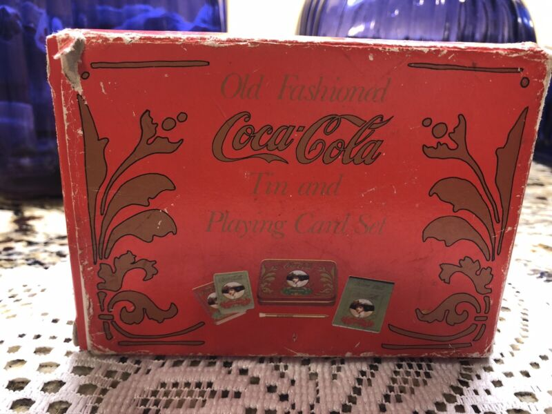 Old Fashioned Coca Cola Tin and Playing Cards Set of 2 Unopened Decks Vintage