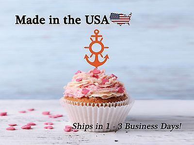 Anchor Cake Topper (Anchor Cupcake Topper, Anchor Decor, Anchor with Ship Wheel, Birthday,)