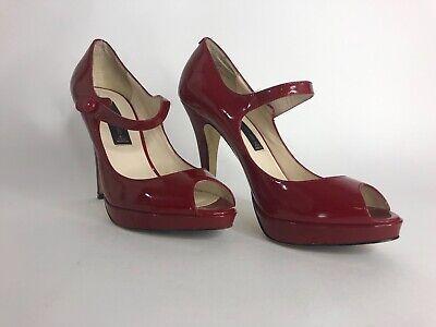 Steve Madden Womens Open Toe Heels (Steven By Steve Madden Womens Size 6.5 Red Open Toe Patten Leather High Heels)