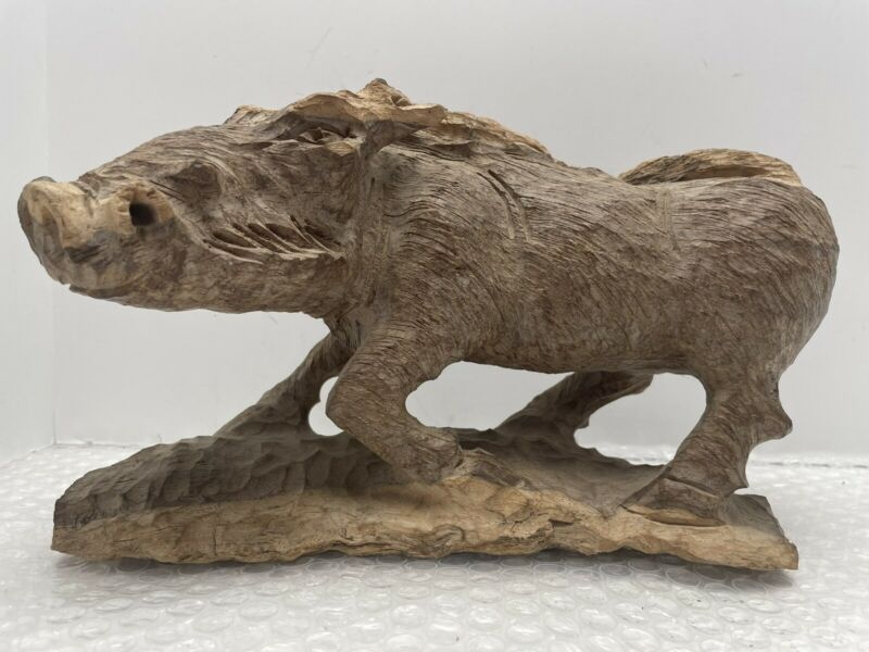 """HAND CARVED WOOD WILD BOAR PIG - 9"""" x 6"""" (approx.) 4 lbs"""
