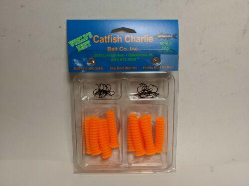 Catfish Charlie Dip Bait Soft Plastic Worms   (12 Per Pack)  DBH-12