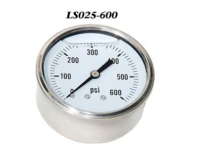 New Hydraulic Liquid Filled Pressure Gauge 0-600 Psi 14 Npt Cbm 2.5 Face