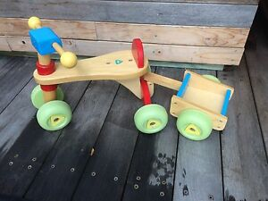 Toddlers  wooden bike with trailer Boat Harbour Port Stephens Area Preview