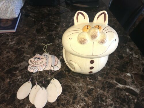 Vintage 1970s Alice in Wonderland Cookie Jar Cheshire Cat & Wind Chime