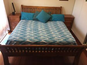 King Size Timber Sleigh Bed base with Firm Latex Mattress Penrith Penrith Area Preview