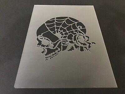 Halloween Airbrush (Skull #23 Stencil 10mm or 7mm Thick, Crafts, Skulls, Tattoo, Airbrush,)