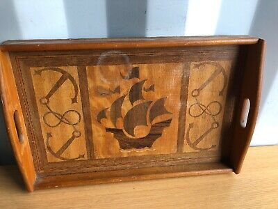 Vintage Wooden Inlaid Tea Tray Serving Ship Design, Retro Kistch Felt Backed