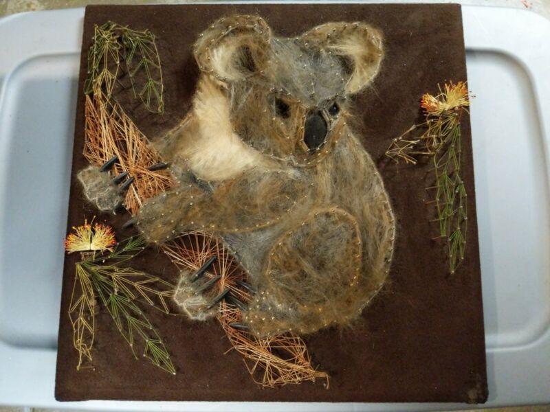 Vtg 70s Koala Bear Nail String Art Mid Century Modern Groovy Fur Hair Rare