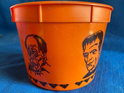 """Vintage 5"""" Halloween Loot Candy Trick or Treat Bucket Pail Universal Monsters"""