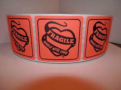 Fragile Handle With Care 2x2 Warning Sticker Label Fluorescent Red 250rl