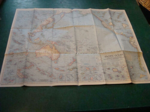 Original NATIONAL GEOGRAPHIC MAP: 1952 PACIFIC OCEAN; 29 X 37""