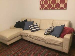 Leather 4 seater beige lounge/sofa Balmain Leichhardt Area Preview