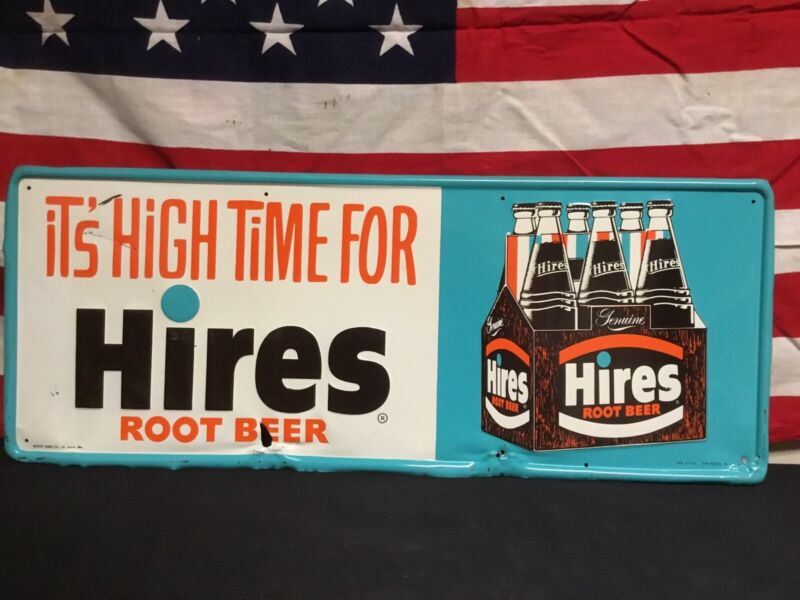 Rare Vintage Its High Time For Hires Root Beer Embossed Six Pack Sign.