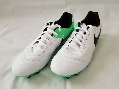 huge discount 170b0 b0383 Mens Size 6.5 White Green Black Nike Tiempo Genio II Leather FG Soccer Shoes