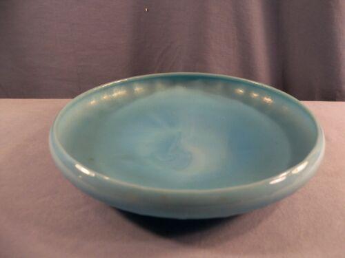 "Northwood Jade Blue Iridescent Stretch Glass Shallow Bowl 8 1/4"" Wide INV6"
