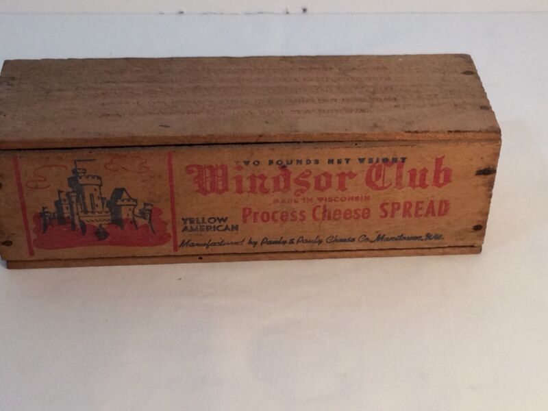 Vintage Windsor Club Wooden Cheese Box USED WITH LID Pasteurized Two Pound Box