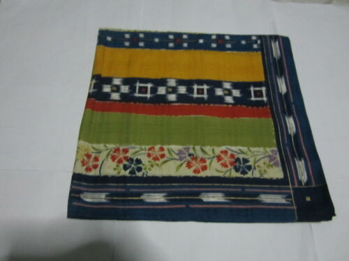 Used Japanese Furoshiki Wrapping Cloth Multi Color Flora Cotton 100%  19 inch #1