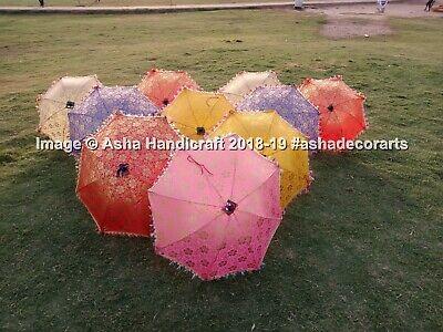 Handmade Dorado Multicolor Seda Parasol Étnico Boda Decorativo Vintage Paraguas