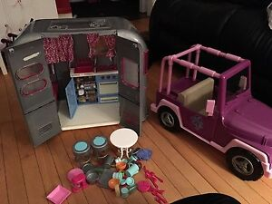 Your generation camper and jeep, American girl size