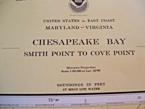 Vintage Block Chesapeake Bay Navigational Map Chart No. 12230
