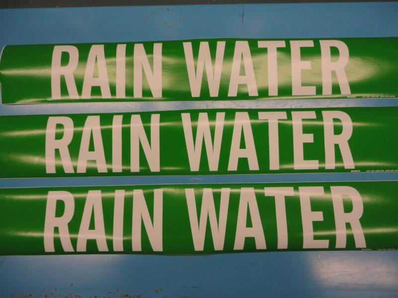 "3 Count, ""RAIN WATER"", 4"" x 24"" Brady Sticker Decal Vinyl Pipe Marker 7229-1HV"