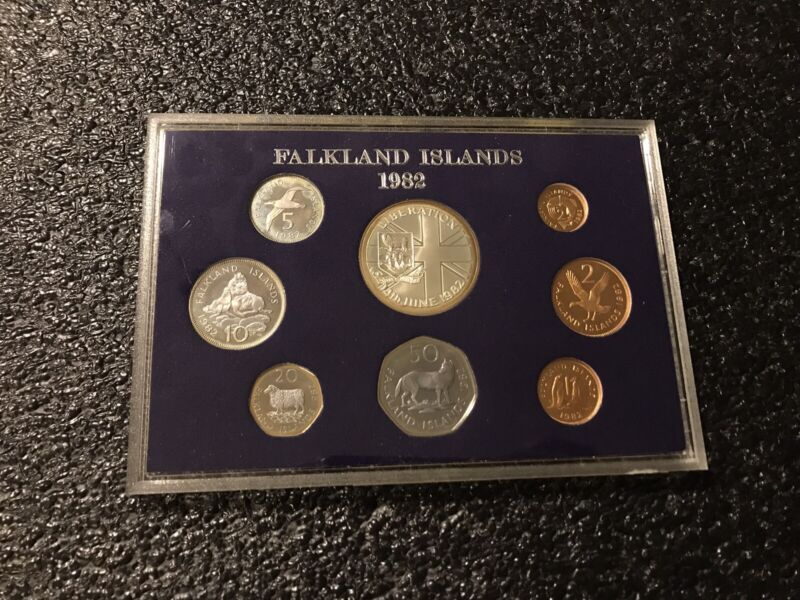 1982 Falkland Islands 8 Coin Proof Set Royal Mint Only Limited Issued RARE!