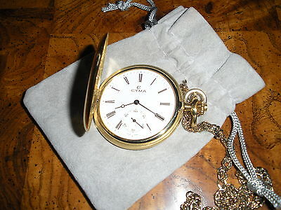 CYMA MEN'S18kt YELLOW GOLD SWISS POCKET WATCH Full Hunter Excellent Conditon
