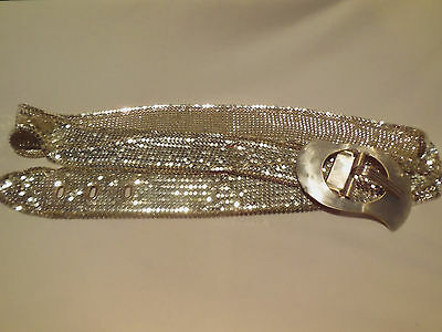 Vintage Estate Art Deco Whiting Davis Flapper Mesh Sterling Silver Plated Belt